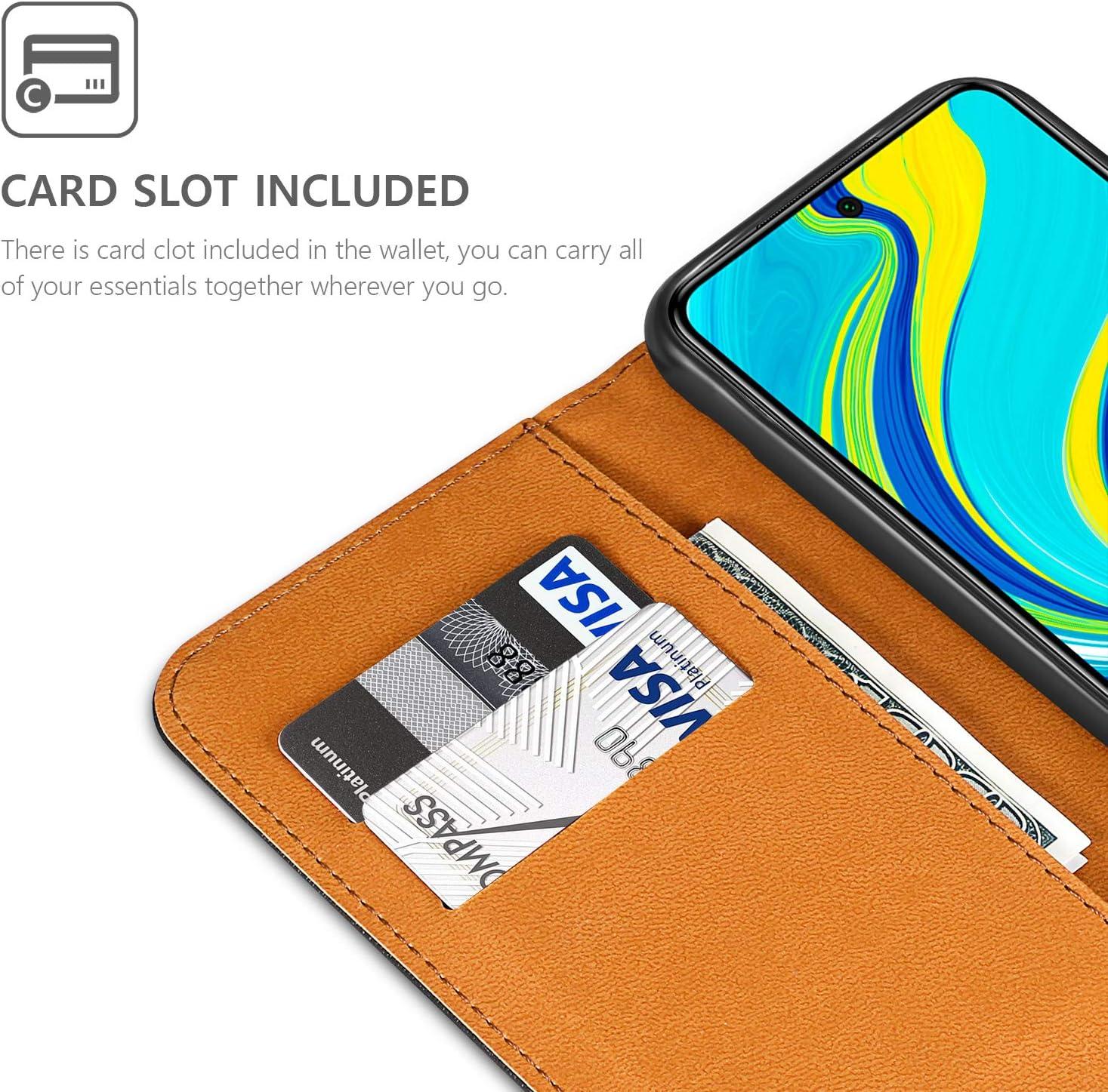 ivencase Funda para Xiaomi Redmi Note 9S//9 Pro//Pro MAX Protector de Pantalla Libro Caso Cubierta Tapa Magn/ética Billetera Cuero PU Carcasa para Xiaomi Redmi Note 9S//9 Pro//Pro MAX Pen Negro