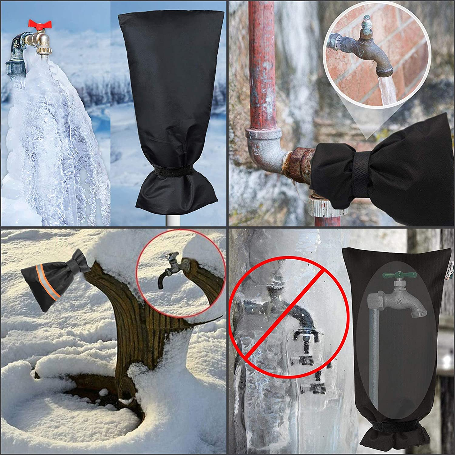 2 Different Sizes 3 Pack Outdoor Faucet Cover Faucet Socks for Winter Freeze Protection Waterproof Outside Faucet Insulation with Reflective Strips