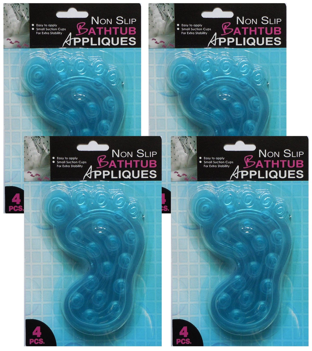 Non Slip Bathtub Appliques with Suction Cups for Added Stability, Blue Feet Mats Easy to Apply and Remove (16 Pack)