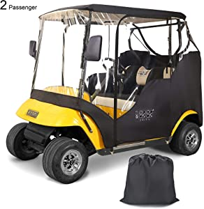 """10L0L Golf Cart Enclosures 2 Passenger for EZGO TXT, Waterproof Portable Transparent Golf Cart Cover Storage Driving Enclosure - 4-Sided (Roof up to 58"""" L)"""