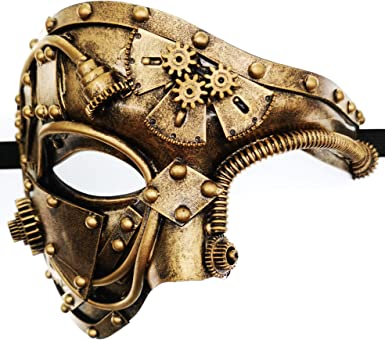Black Steampunk Goggles Masquerade Mask Phantom of the Opera Half Face Mask