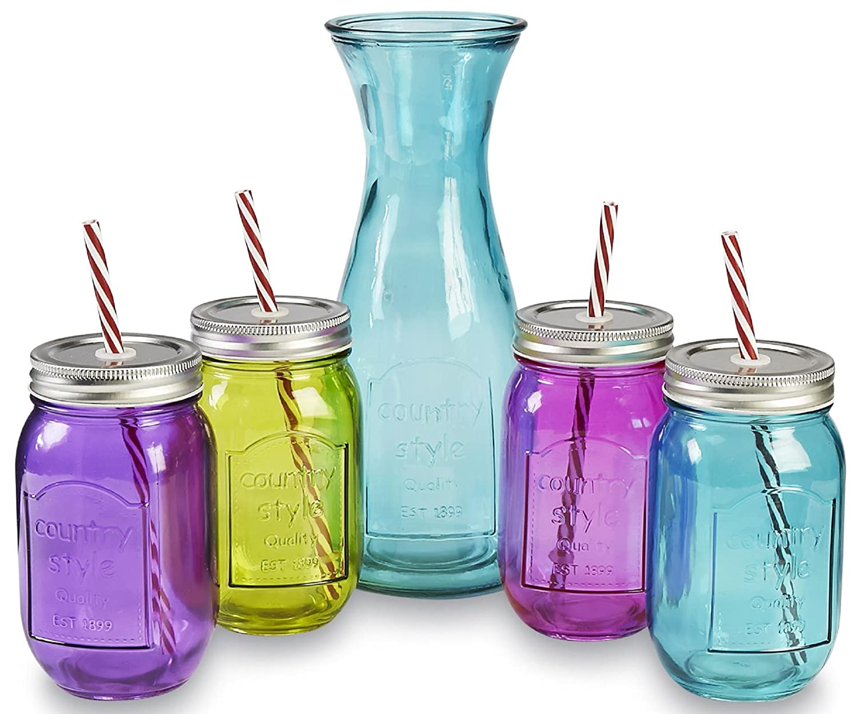 Amazon.com | Circleware Mulit-Colored Glass Mason Jars and Pitcher ...