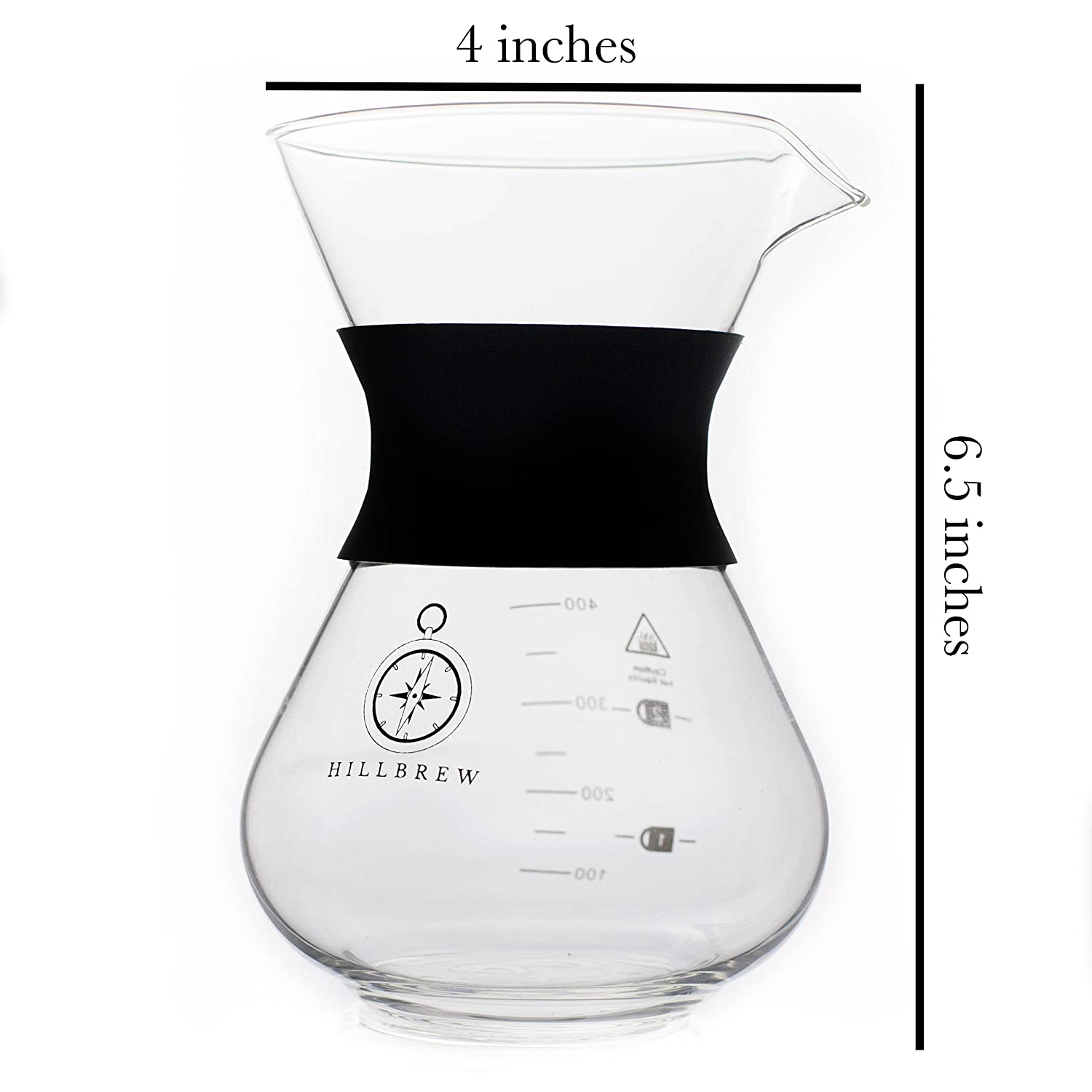 Durable Glass Carafe 1-2 Cup Eco-Friendly 400 ML Pour Over Drip Coffee Maker 13.5 OZ Paperless Stainless Steel Filter Reusable Heat Resistant Silicone Cuff Hillbrew Coffee /& Tea Manual Portable