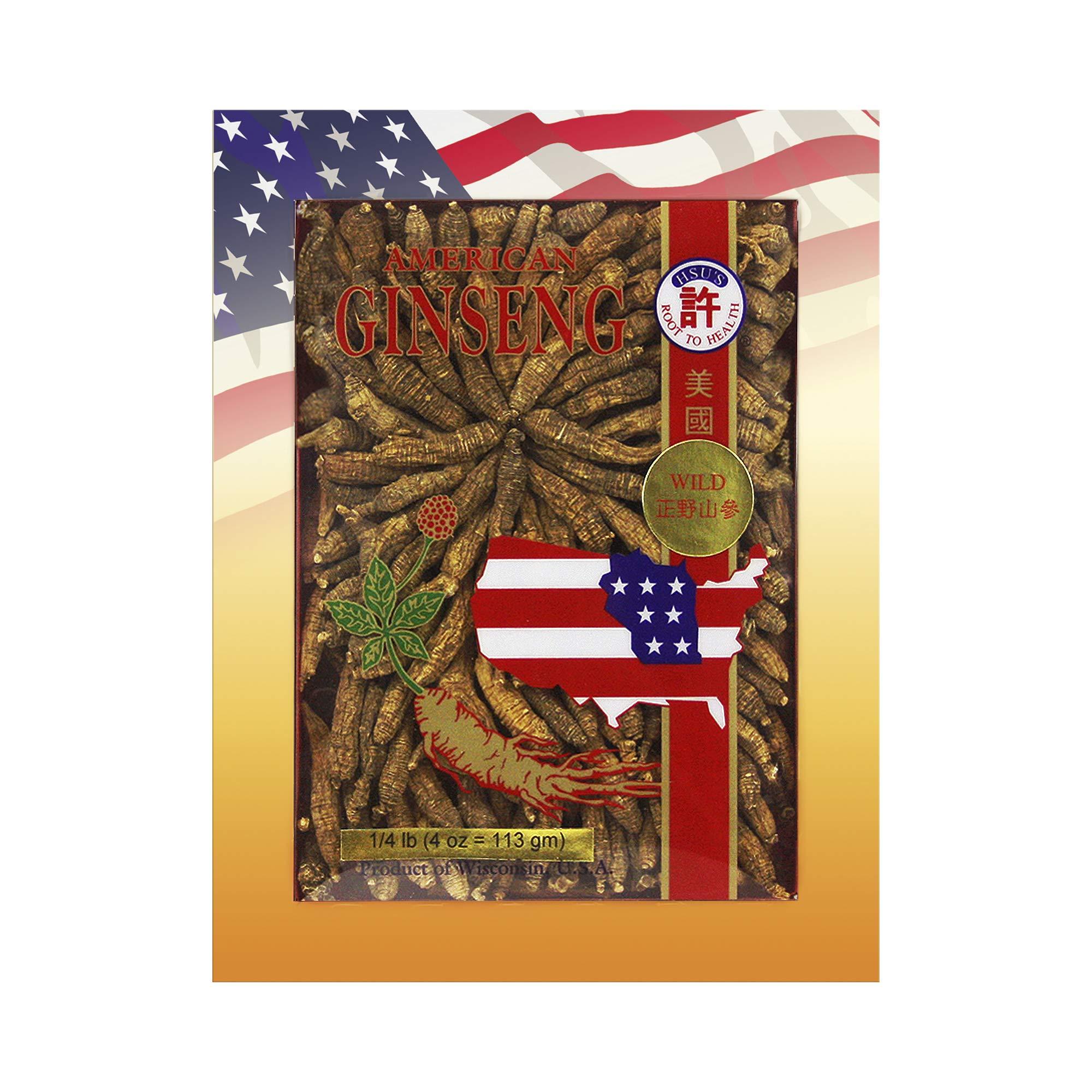 Hsu's Ginseng SKU 0334-4 | Wild Half Short Small #1 | Wild American Ginseng | 许氏花旗参正野山參短支小一號 | 4 oz Box,西洋参, 野山參