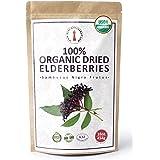 100% Certified Organic Dried Elderberries - 1 lb Bulk European Whole Dry Black Elderberry - USDA Certified Organic, Raw, Vega