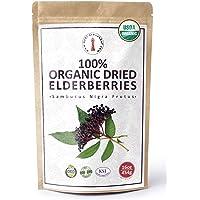 100% Certified Organic Dried Elderberries - 1 lb Bulk European Whole Dry Black Elderberry - USDA Certified Organic, Raw…