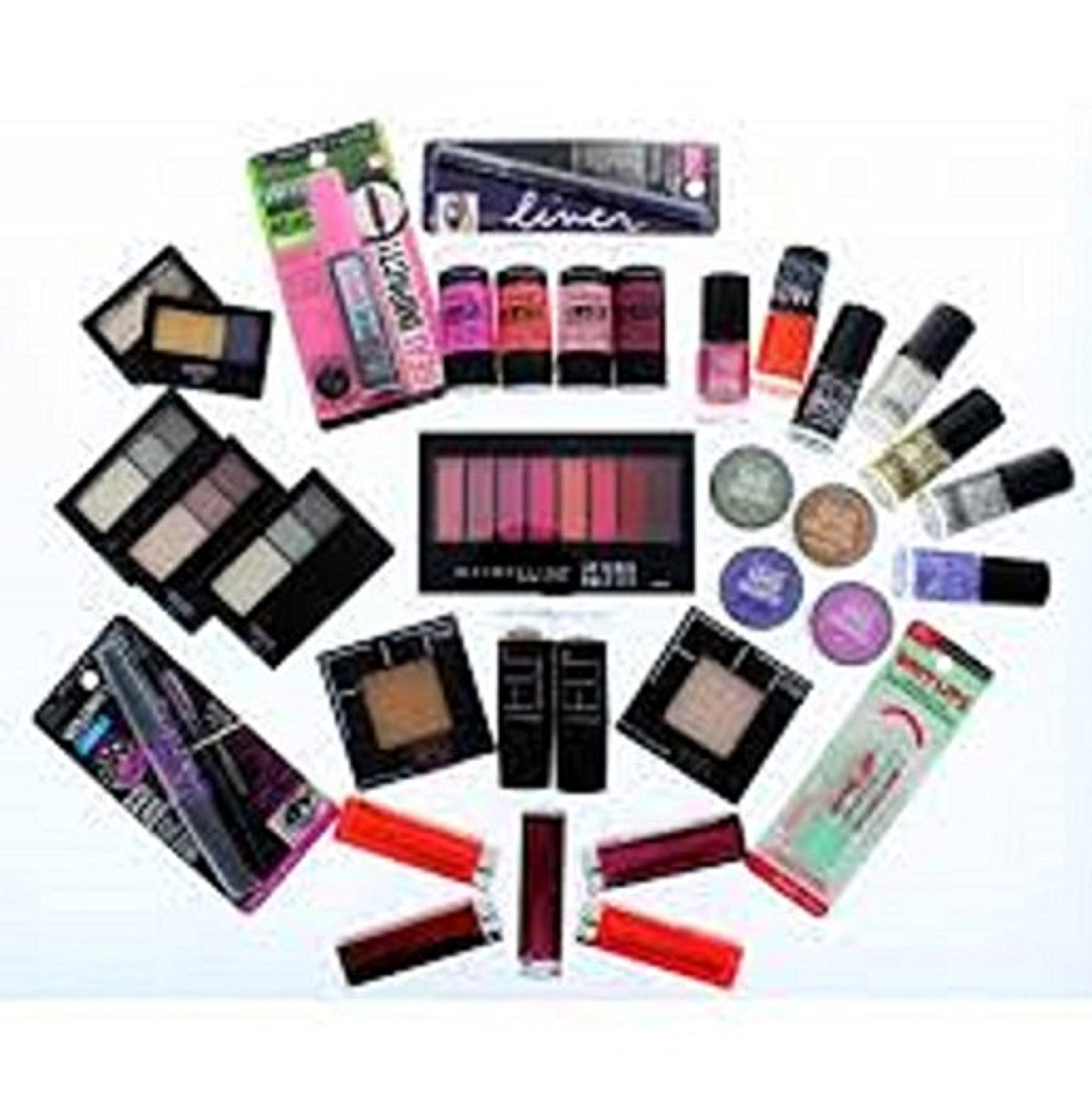 50 Piece Wholesale only Loreal, Maybelline and revlon Cosmetics Lot,assorted by Maybelline New York (Image #1)
