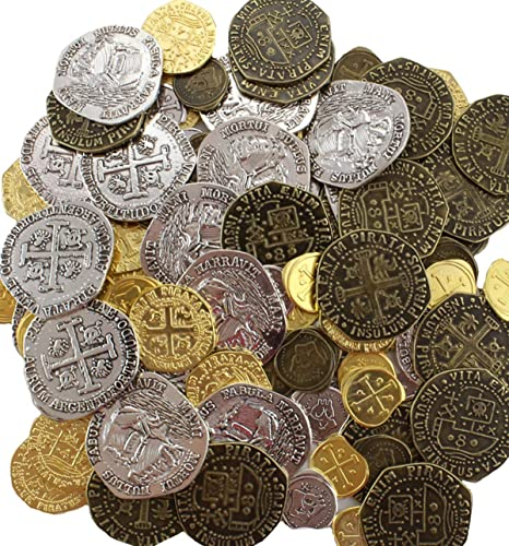 Metal Pirate Coins 96 Gold and Silver Doubloon Replicas Fantasy Metal Coin  Pirate Treasure Gold Silver Antique Finishes by Well Pack Box
