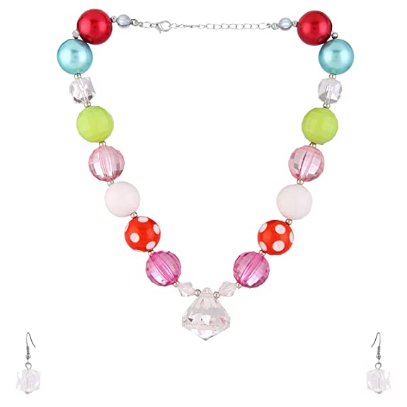 NeedyBee Crystal and Beads Earring and Necklace Jewellery Set for Little Girls Chains & Necklaces at amazon