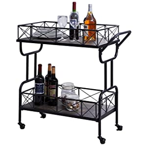 Homissue Rolling Kitchen Serving Cart Bar Buffet Cart, 2 Tier Storage Shelf on Wheels, Grey-Brown
