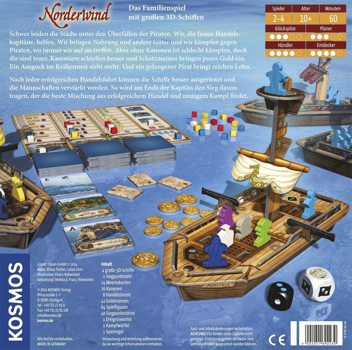 KOSMOS Norderwind Niños y Adultos Viajes/Aventuras - Juego de Tablero (Viajes/Aventuras, Niños y Adultos, 60 min, Niño/niña, 10 año(s)): Amazon.es: Juguetes y juegos