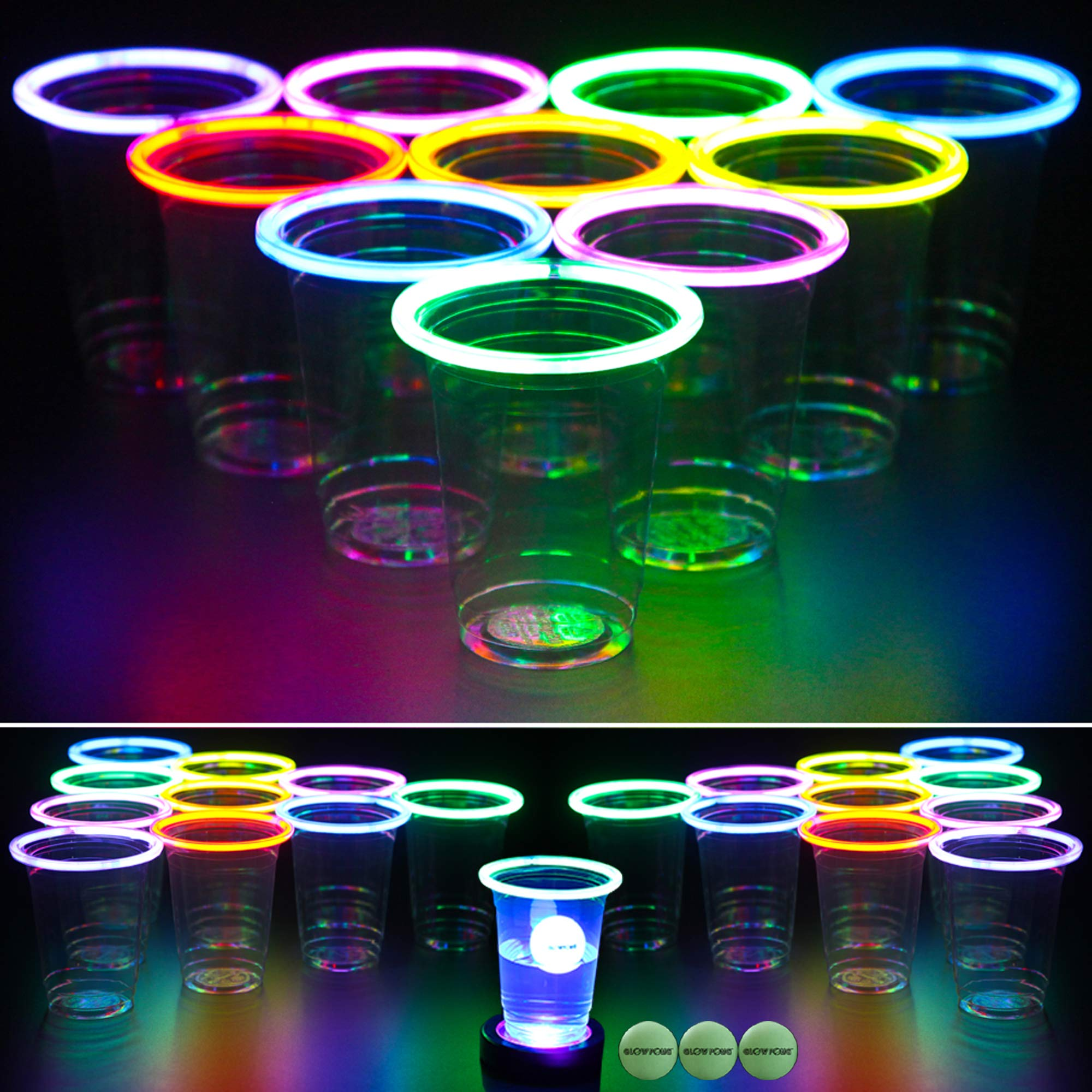 GLOWPONG All Mixed Up Glow-in-The-Dark Beer Pong Game Set for Indoor Outdoor Nighttime Competitive Fun, 24 Multi-Color Glowing Cups, 4 Glowing Balls, 1 Ball Charging Unit Makes Every Shot Glow by GLOWPONG