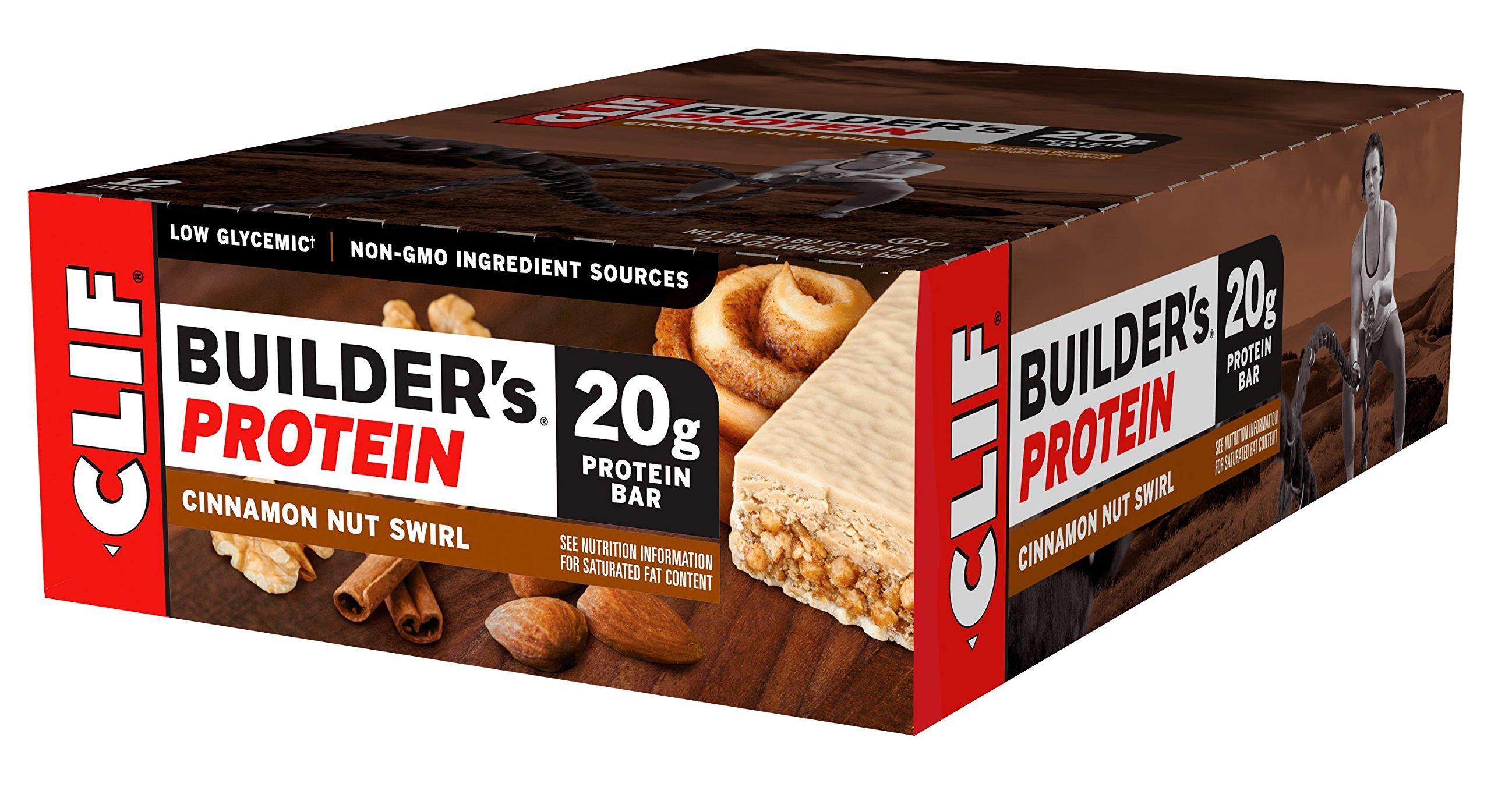 CLIF BUILDER'S - Protein Bar - Cinnamon Nut Swirl - (2.4 Ounce Non-GMO Bar, 12 Count)
