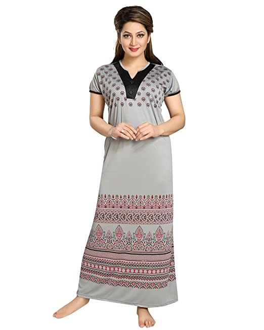 d1161d57421 TUCUTE Women s Night Gown Nightwear Nighty Nightdress with Print (Grey)  (Free Size) Style-1209  Amazon.in  Clothing   Accessories