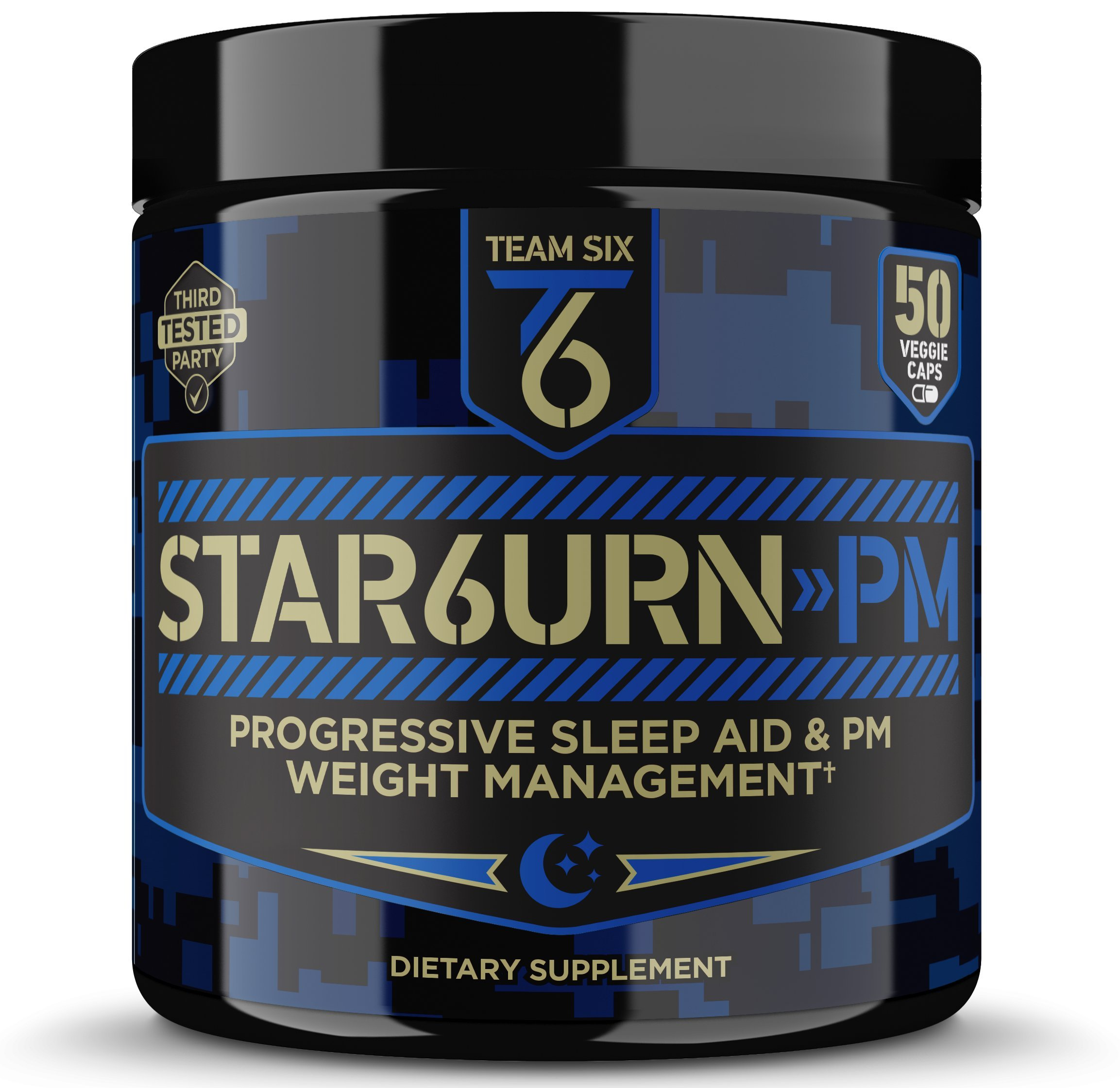 T6 STAR6URN-PM - Fat Burner and Sleep Aid for Muscle-Preserving Weight Loss and Stress Relief, Green Coffee Bean and Garcinia Cambogia Extract, 50 veggie caps by Team Six Supplements