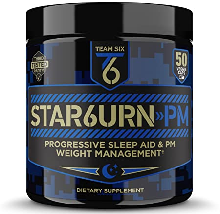 T6 STAR6URN-PM Fat Burner and Sleep Aid for Muscle-Preserving Weight Loss and Stress Relief, Green Coffee Bean and Garcinia Cambogia Extract, 50 veggie caps