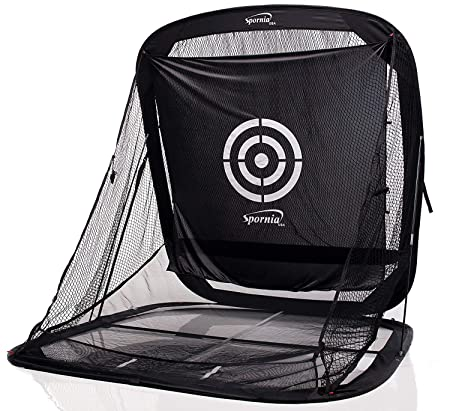 Spornia SPG-7 Golf Practice Net – Automatic Ball Return System W Target Sheet, Two Side Barrier