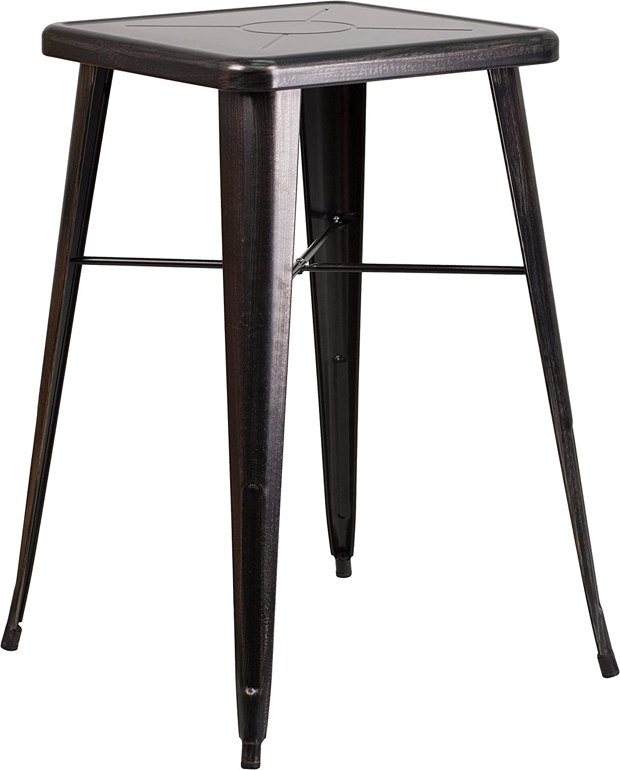 "Flash Furniture Commercial Grade 23.75"" Square Black-Antique Gold Metal Indoor-Outdoor Bar Height Table: Furniture & Decor"