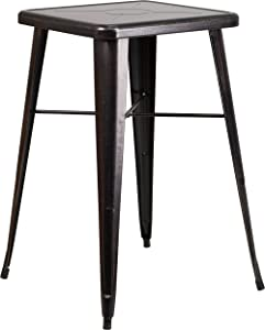 """Flash Furniture Commercial Grade 23.75"""" Square Black-Antique Gold Metal Indoor-Outdoor Bar Height Table"""