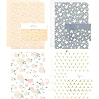 24 Pieces Lined Cute Flower Writing Stationery with 12 Pieces Envelopes Set Kawaii Postcards Writing Paper by SHXSTORE