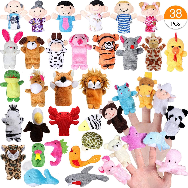 Joinfun Marionetas de Dedo 22pcs Cartoon Animal Hand Toys 6pcs Gente Marionetas de Miembros de la Familia para bebés Infantes Niños pequeños Cuento Educativo Hora (38pcs)