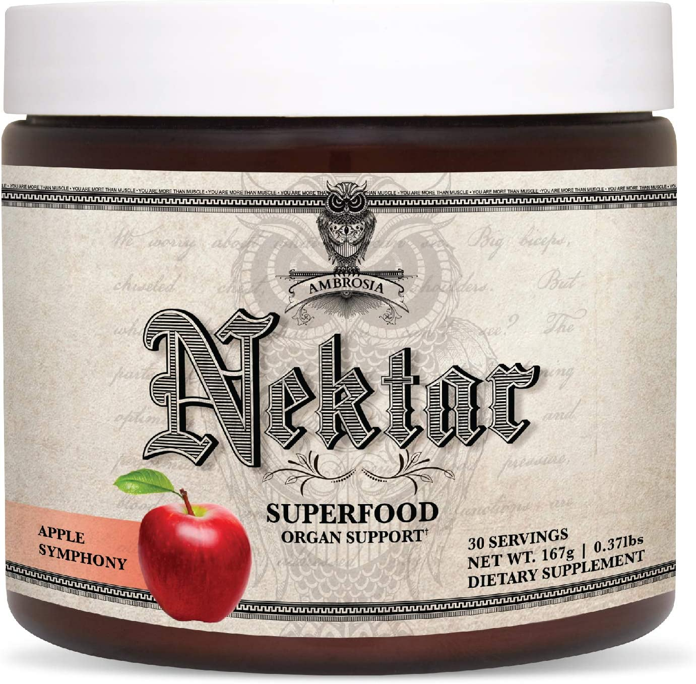 Ambrosia Nektar - Superfood Powder | Complete Health Supplement | Organ Support - Liver, Heart, Kidney Health | 30 Servings | Apple Symphony