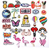 ZesGood 30 PCS 3-10CM Assorted Size Iron On Embroidered Motif Applique Glitter Sequin Decoration Patches DIY Sew on Patch Perfect for Jeans, Clothing