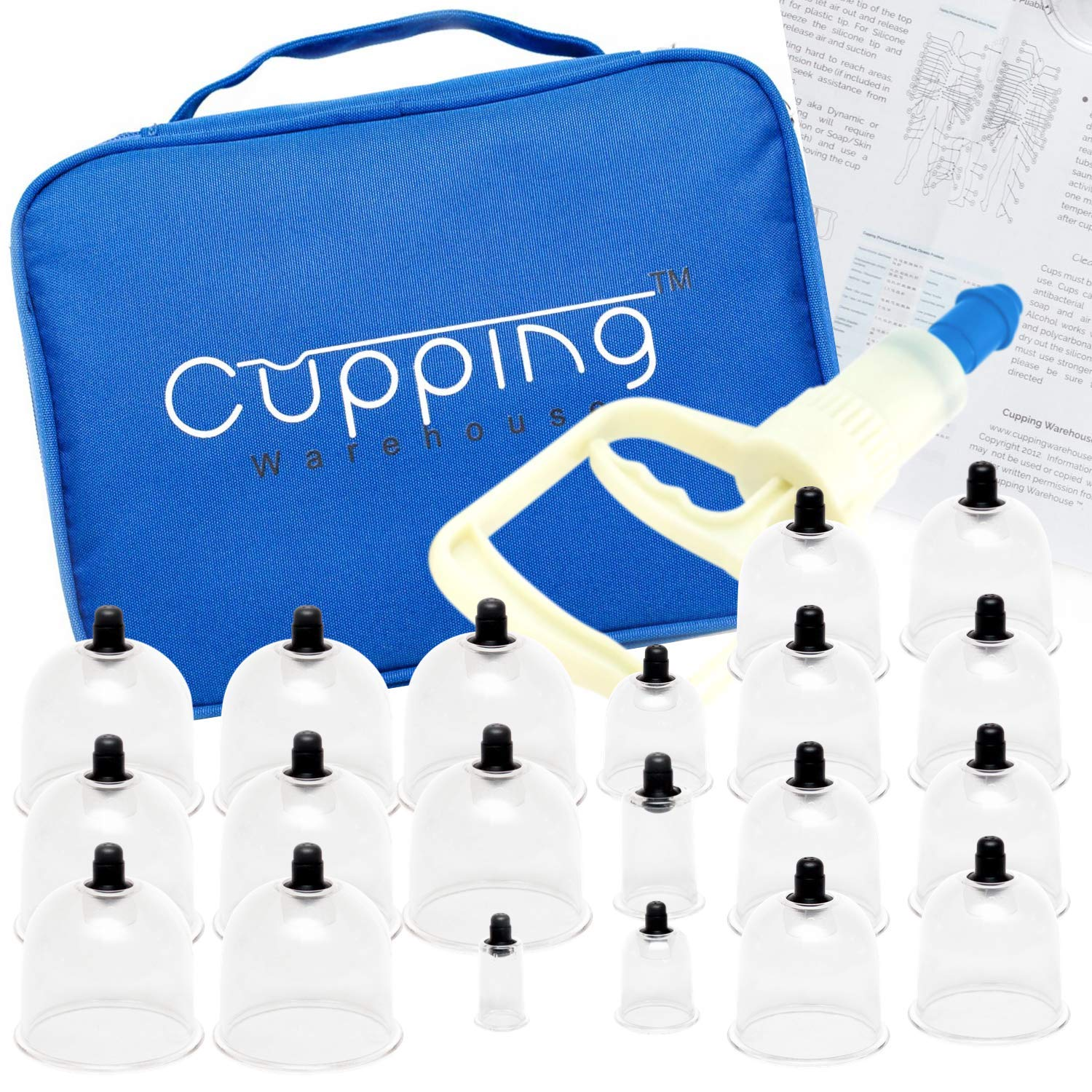 Cupping Warehouse 20 Chinese Cup Polycarbonate Professional Cupping Therapy Set with Pump Gun and Extension Tube and Silicone Top (20Chinese) by Cupping Warehouse TM