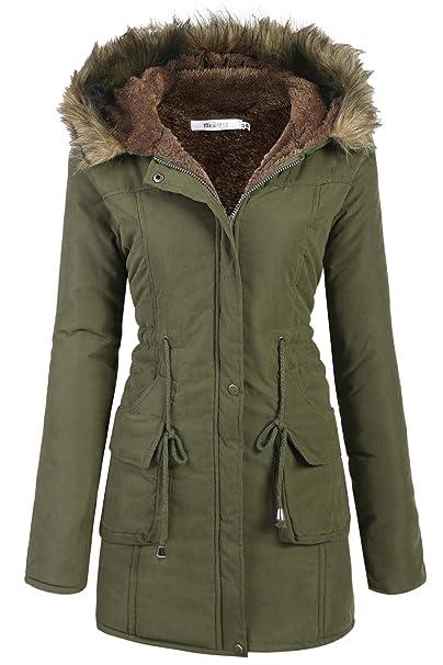 Meaneor Abrigo anoraks chaqueta parka de mujer con capucha de pelo para invierno: Amazon.es: Ropa y accesorios