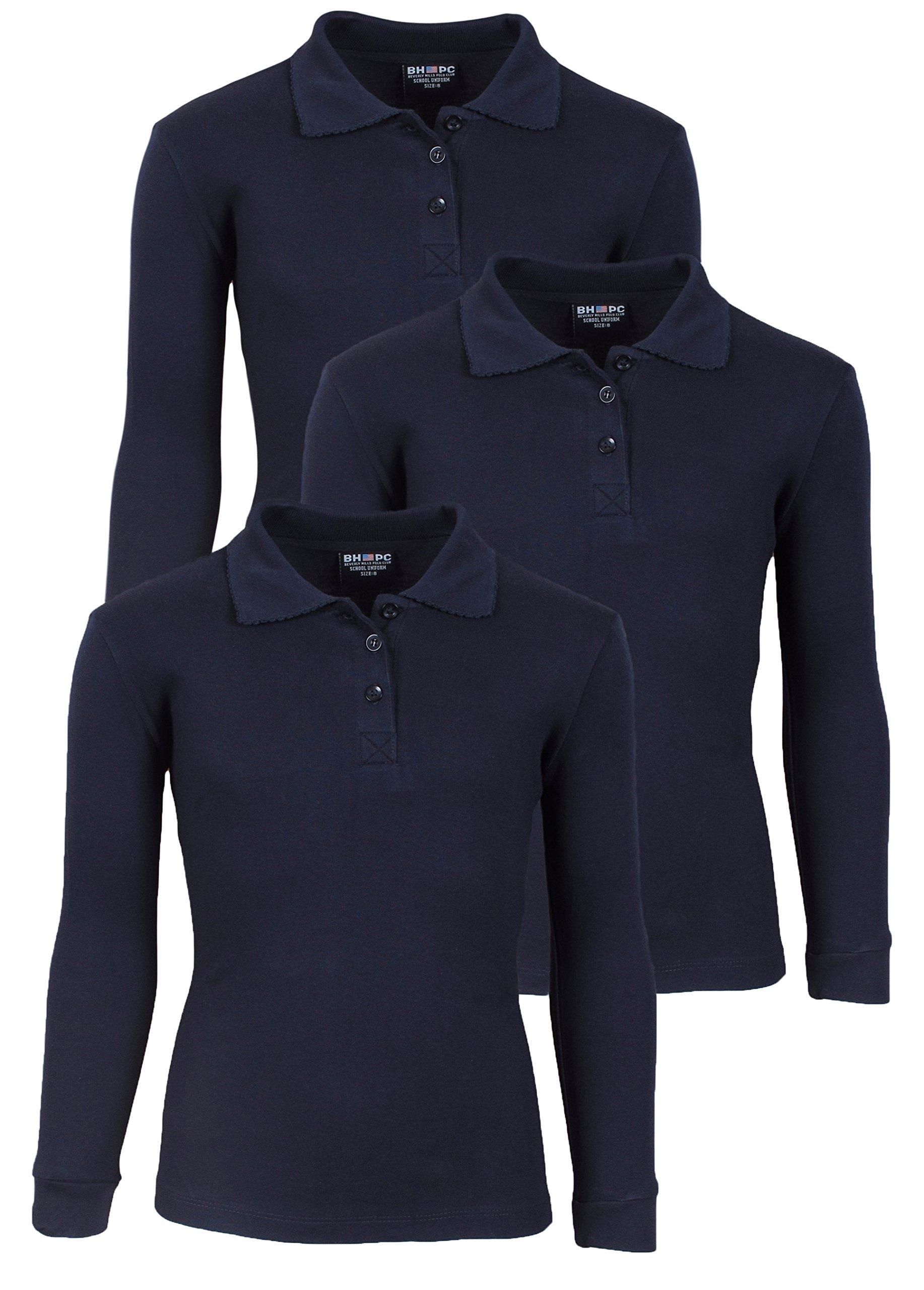 'Beverly Hills Polo Club 3 Pack of Girls' Long Sleeve Interlock Uniform Polo Shirts, Size 10, Navy'