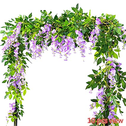 Artificial & Dried Flowers Festive & Party Supplies Nice Flower Rattan Party Decorative Artificial Wisteria Vine Trailing Outdoor Garland Foliage Plants Silk Cloth Wall Hanging Home