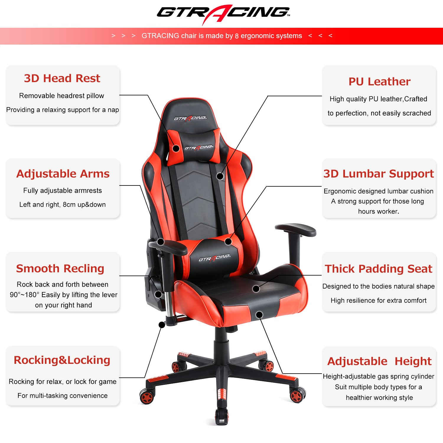 GTracing Ergonomic Office Chair Racing Chair Backrest and Seat Height Adjustment Computer Chair With Pillows Recliner Swivel Rocker Tilt E-sports Chair (Black/Red) by GTRACING (Image #3)