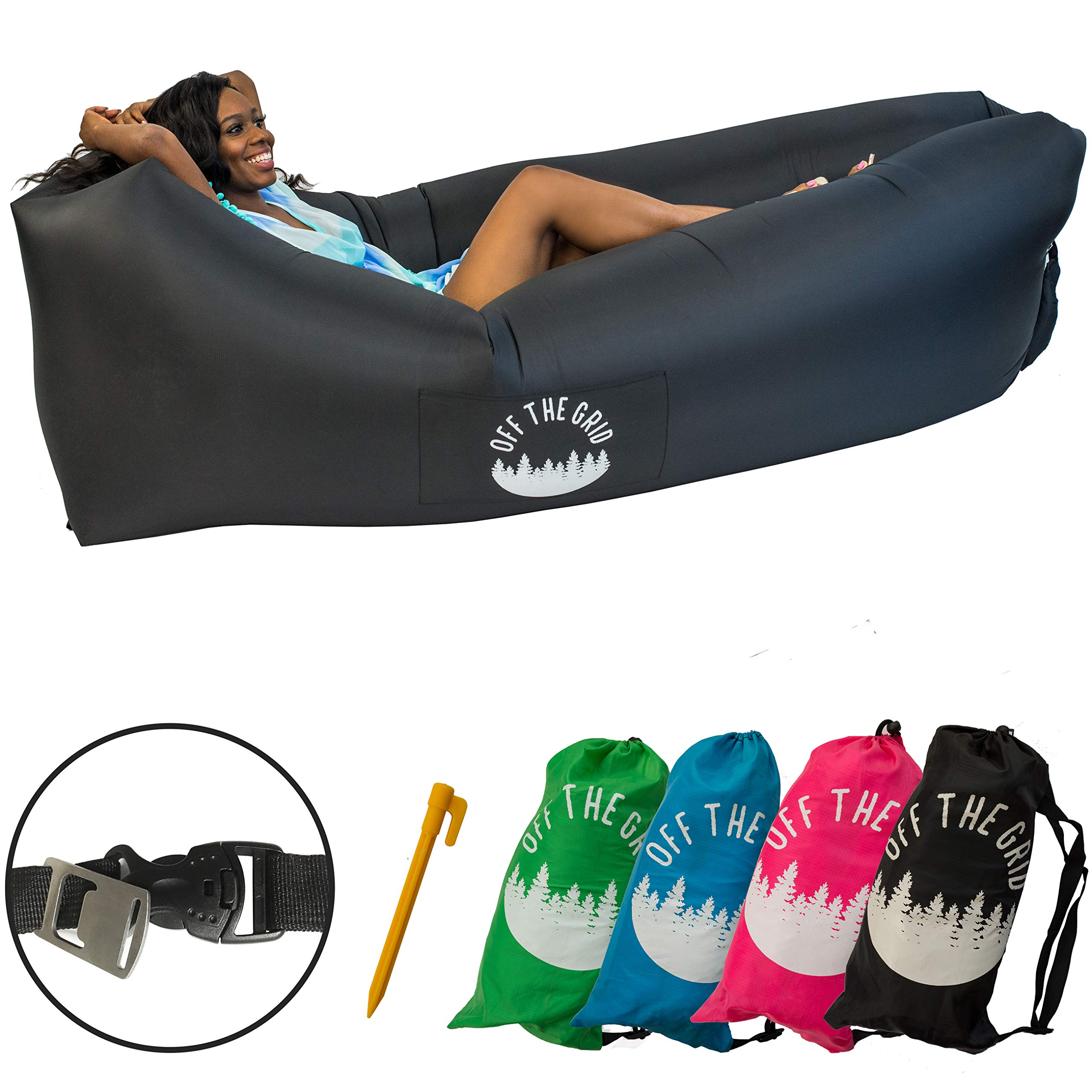 Off the Grid Inflatable Lounger - Air Sofa Wind Chair Hammock - Floating/Portable Bed for Beach, Pool, Camping, Outdoors Lazy Bag Cloud Couch (Black) by Off the Grid