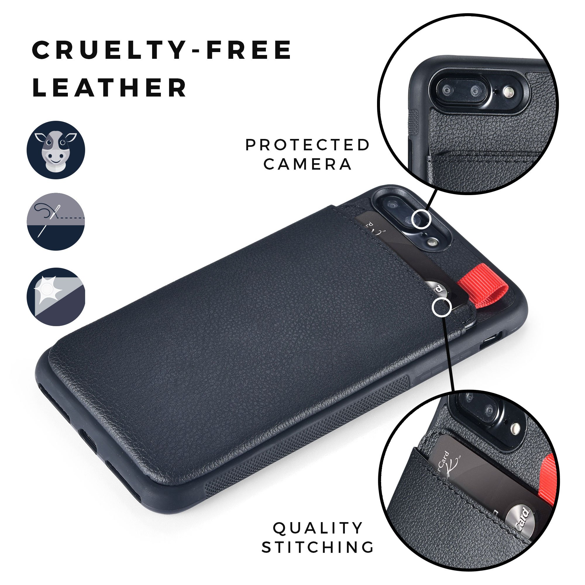 MANGATA TRITON Leather Wallet case compatible with iPhone 8 Plus, iPhone 7 Plus | Hidden Wallet Pocket, Rugged Shell | Cruelty Free Leather | Credit Card Holder, Cash Pocket, Screen Protector (Black) by Mangata Cases (Image #3)