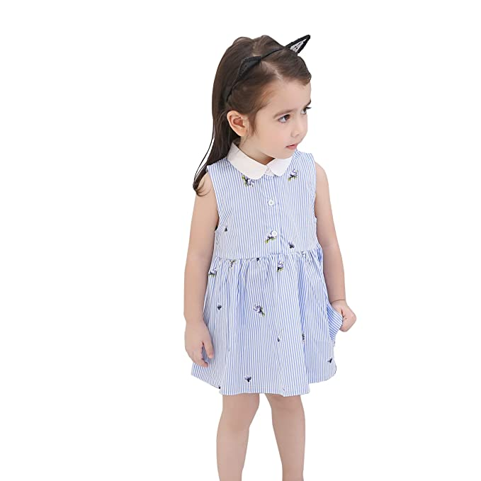 3b8165ae9a97 Amazon.com  Floral Little Girls Dress Toddler Printed Cotton Princess Summer  Casual Dresses  Clothing