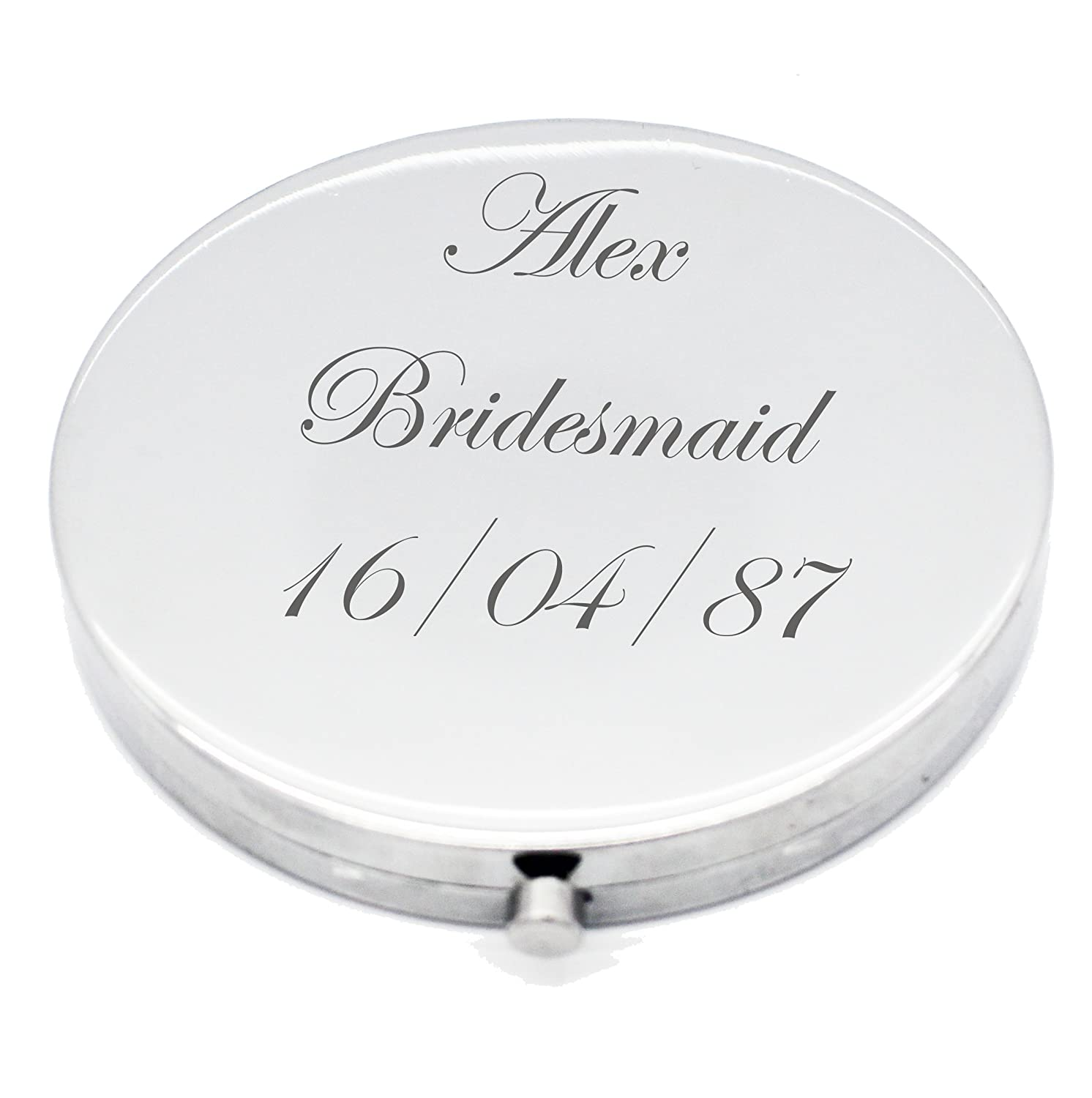 Personalised Silver Round Circle Shape Compact Mirror For Bridesmaid, Wedding Favour Any Name & Message Engraved Vincenza