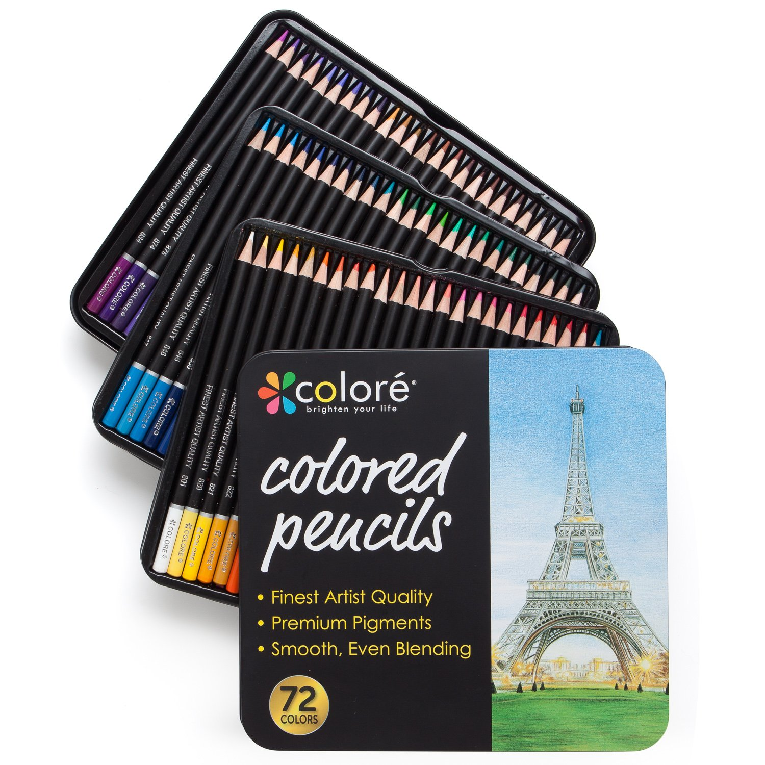 Colore Colored Pencils - 72 Premium Pre-Sharpened Color Pencil Set for Drawing Coloring Pages - Great Art School Supplies for Kids & Adults Coloring Books - 72 Colors by Colore