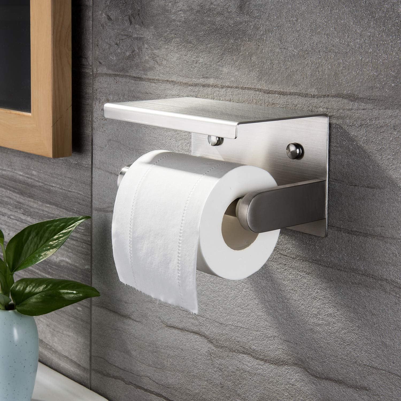 Zunto puerta de rollo para ba/ño o pared Portarrollos de papel higi/énico con estante para papel higi/énico de acero inoxidable cepillado