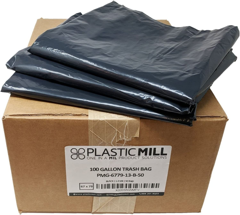 PlasticMill 100 Gallon 2 Mil Black Garbage Bags 67x79