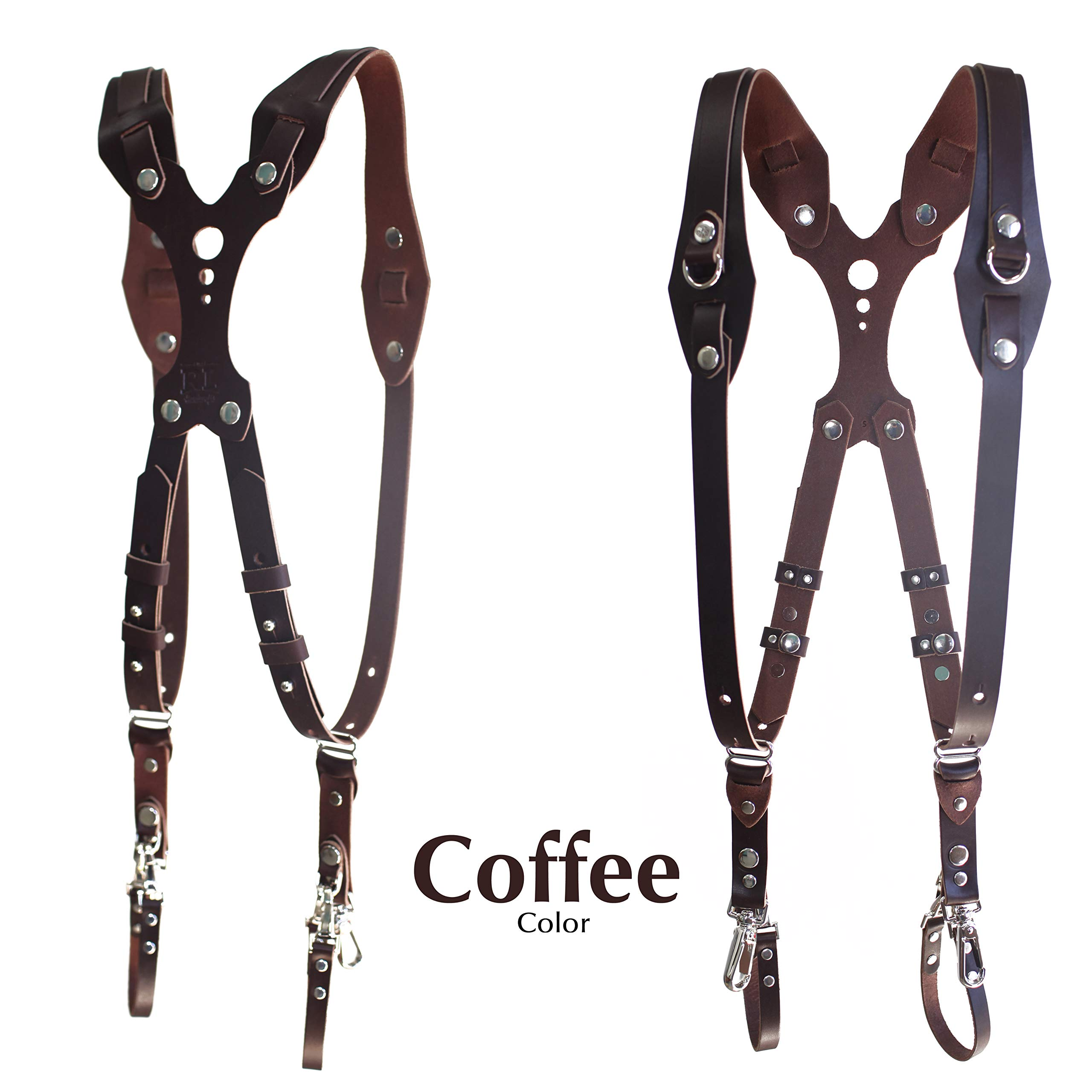 Clydesdale Lite-Dual Handmade Leather Camera Harness, Sling & Strap RL Handcrafts. DLSR, Mirrorless, Point & Shoot Made in The USA (Coffee, Large)