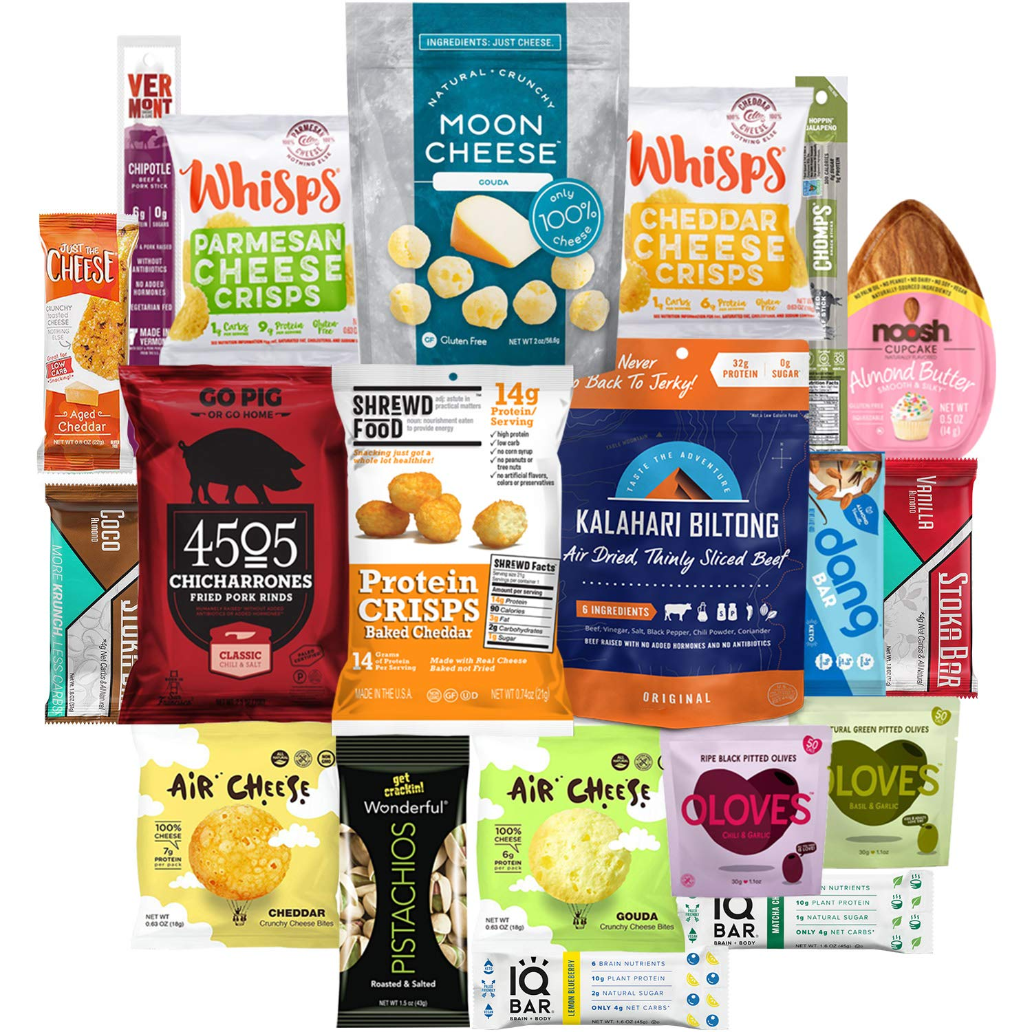 Keto Snacks Care Package (20 Count) : Variety of Ketogenic Friendly & Low Carb - Protein Bars, Cheese Crisps, Grass Fed Meat Sticks Bars, Pork Rinds, Biltong, Nuts, Candy In Healthy Snack Gift Box