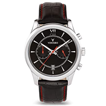 67510cfbbafe Vincero Luxury Men s Bellwether Wrist Watch — Black Red dial with Black  Leather Watch Band