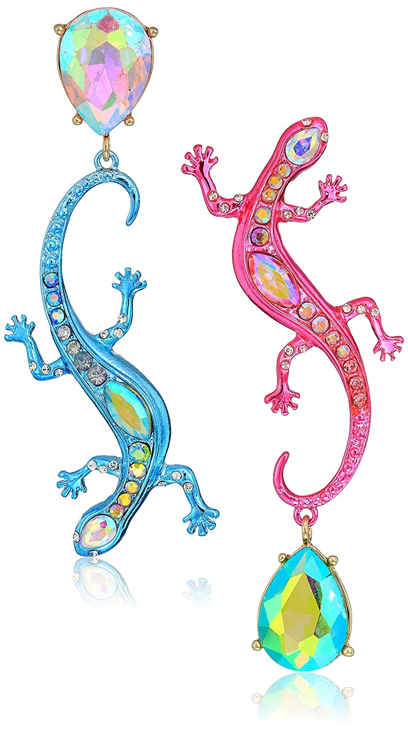 Betsey Johnson (GBG) Paradise Lost Women's Bright Pink And Blue Lizard Mismatch Drop Earrings, Multi, One Size Betsey Johnson Jewelry B13812-E01
