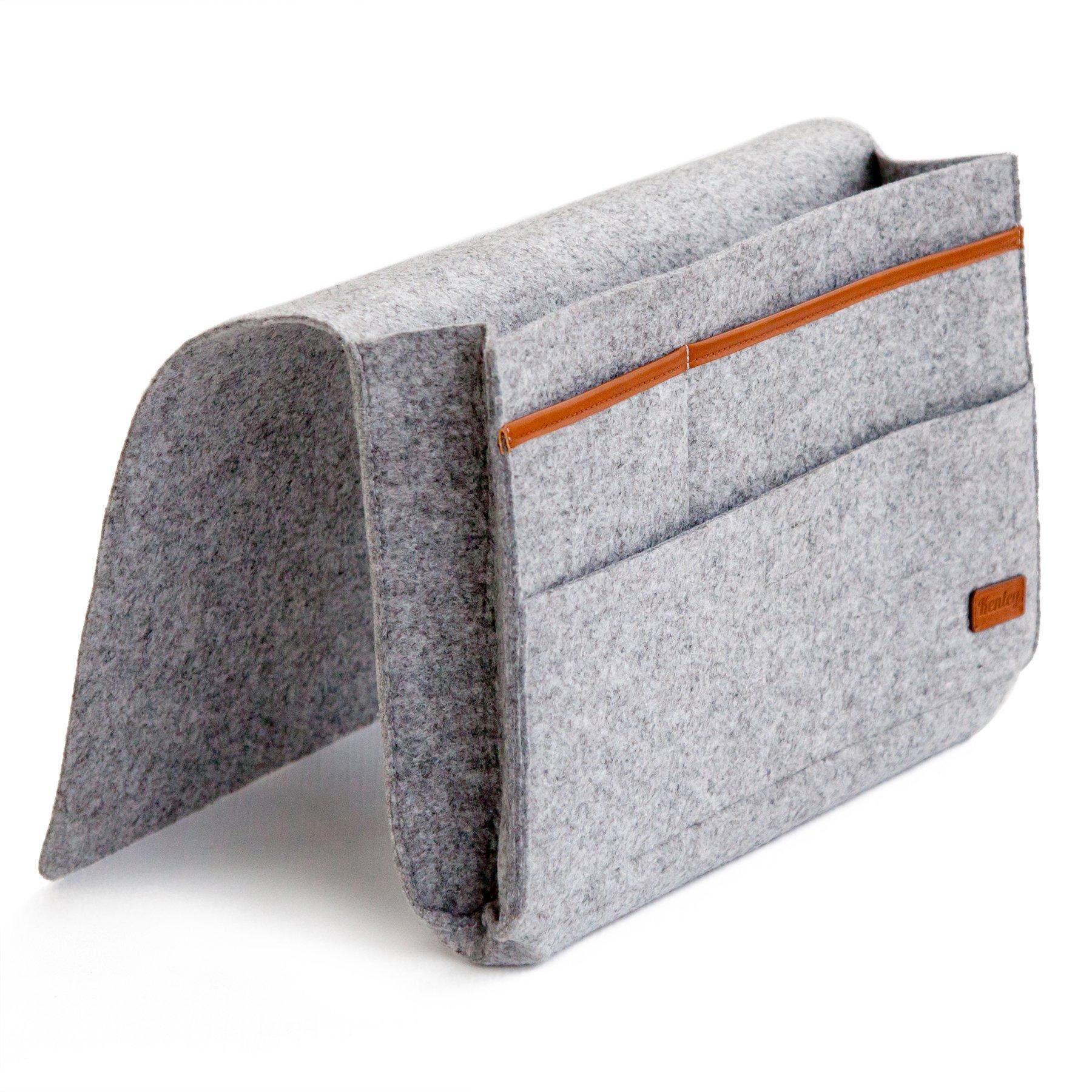 Kenley Bedside Caddy - Bed Skirt Storage Pocket Organizer for Bedroom, College Dorm Room, Bunk or Loft Beds, Sofa - Under Mattress Holder Bag 9''x12'' for Book, Laptop, Tablet, Remotes - Felt & Leather by Kenley
