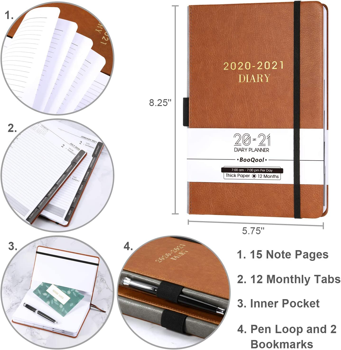 14,3 X 21 cm Tasca Interna Fascia 2020-2021 Agenda Quotidiano- Pianificatore Giornaliero di Produttivit/à da Gennaio da Luglio 2020 a Giugno 2021 con Schede Mensili