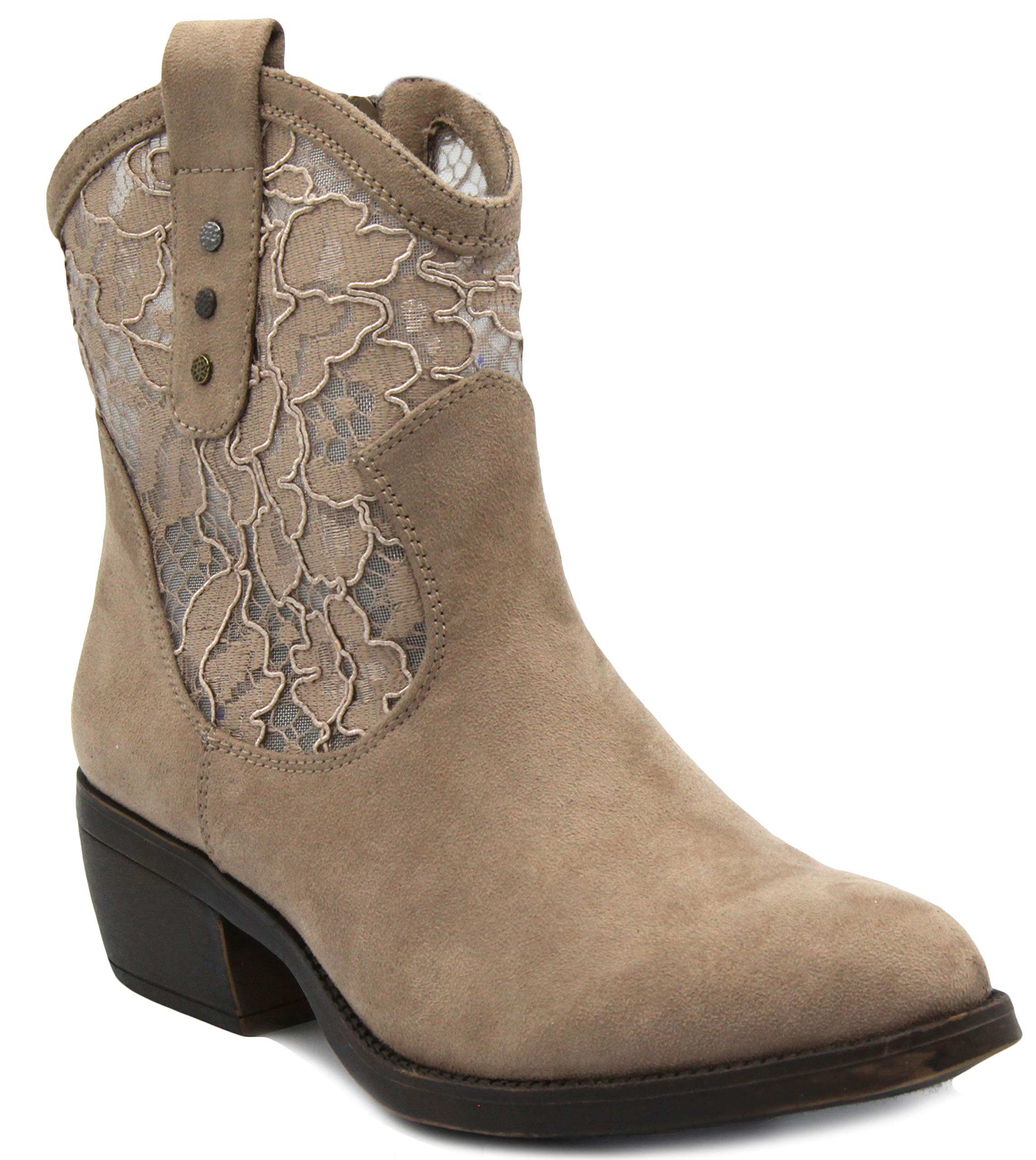 Rampage Women's Thriller Low Shaft Mid Calf Western Ladies Boot with Side Zip Taupe with Lace 6