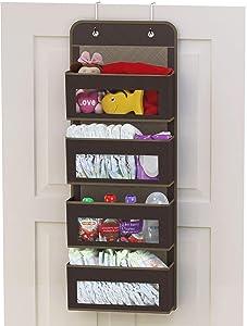 Simple Houseware Over Door/Wall Mount 4 Clear Window Pocket Organizer, Brown
