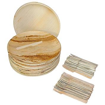 Set Cubertería Desechable de Madera (75 Piezas) - Vajilla Ecológica con 25 Platos de