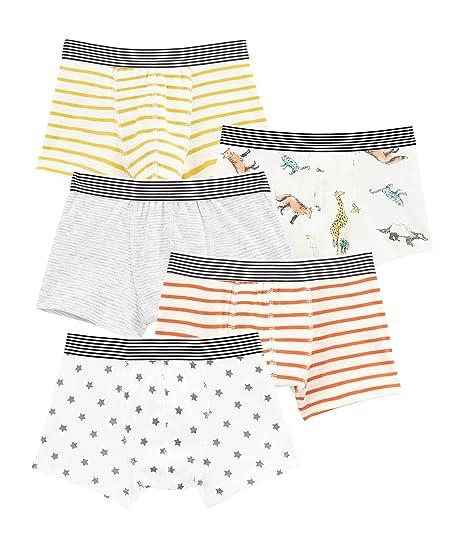 Petit Bateau Boys Boxer Shorts Pack of 5