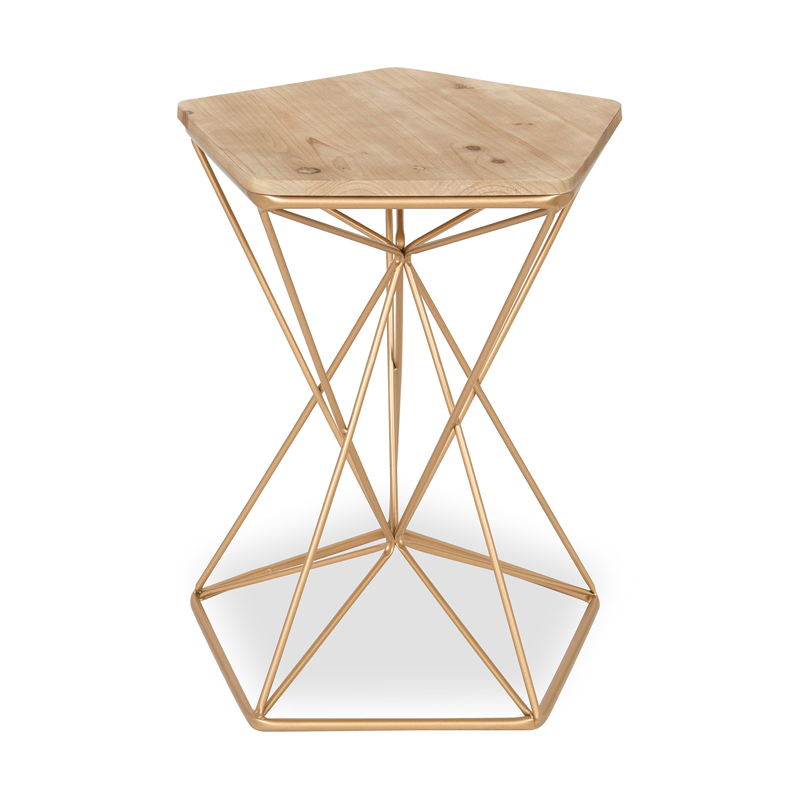 Kate and Laurel - Ulane Metal Side Accent Table with Natural Wood Top, Rose Gold